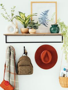 Spruce up your entryway or mudroom with fresh artificial greenery and stylish home decor accessories. Shelves and hooks help with storage & organization. Metal Shelves, Wall Shelves, Wood And Metal, Metal Walls, First Home, Entryway Decor, Entryway Ideas, Room Inspiration, Sweet Home