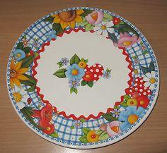 "Mary Engelbreit 10"" Display Plate Flowers Birds Ladybug Bee Ceramic Design 2000"