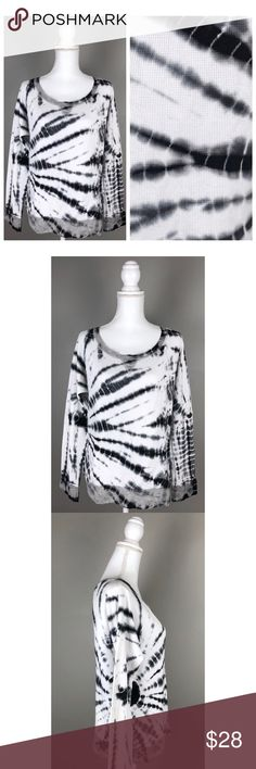 """EUC {Coin 1804} Tie Dye Long Sleeve Thermal Shirt In EXCELLENT condition! LIKE NEW!!  {Coin 1804 Womens Large Tie Dye Long Sleeve Pullover Thermal Top Black White }  Fairly lightweight thermal look/feel material. Picturesare part of the description.  100% Cotton- Machine wash  {Measurements taken flat without stretching} Armpit to armpit approx. 20 - 20.5"""" Length approx. 24""""  FAST SHIPPING!Usually ships same or next business day!! {Seller's note:E1-449} Coin 1804 Tops Tees - Long Sleeve"""