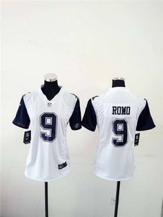 womens dallas cowboys 9 tony romo white stitched nfl rush jersey