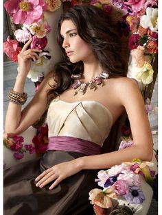 Sweetheart Floor Length Chocolate Elegant Bridesmaid Dress