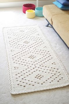 Crochet White Romantic Rug - 10 Free Crochet Home Decor Patterns