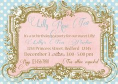 Free Tea Party Invitations For Little Girls  Tea Party