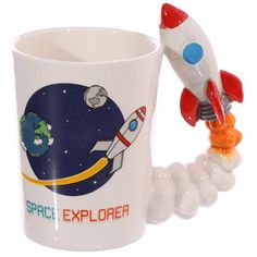Astronaut Spaceship Shaped Handle Ceramic Mug