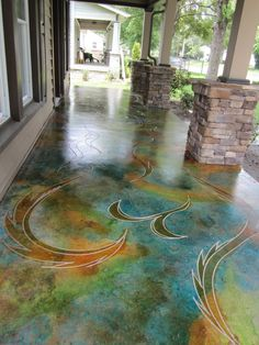 Etched and stained concrete: 32 Amazing Floor Design ideas for Homes Indoor and Outdoor Stained Concrete, Concrete Patio, Concrete Design, Concrete Staining, Concrete Lamp, Concrete Countertops, Paint Concrete, Floor Design, House Design