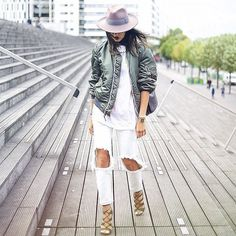Pin for Later: 18 Outfits That'll Turn White Jeans Into Your Most Versatile Pair of Pants With a Green Bomber, White T-Shirt, Lace-Up Heels, and a Fedora