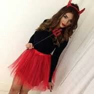 DIY devil Halloween costume. Red tutu, horns, black long sleeve top and pitch fork.