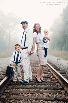 family portraits outfits; love the suspenders. Maybe a pop of color like in the accessories.