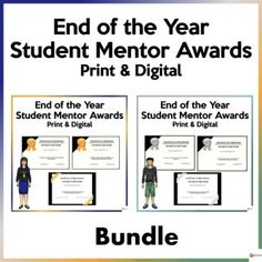 Do you have a mentoring program at school?If you do, this bundle of student mentor awards in the gold and silver theme is a great way to celebrate, recognize and appreciate the efforts and hard work of your student mentors.This resource includes:* Certificate of Recognition* Certificate of Completio...