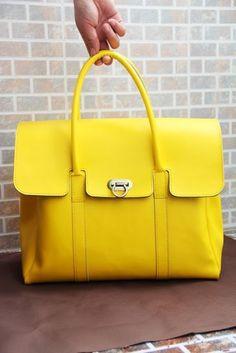 Handmade Leather Women's Handbag Satchel Purse in Yellow