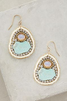 Anthropologie glass, turquoise, and opal earrings