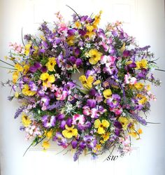 Spring Wreath Summer Wreath-Pansy Wreath-Twig by SeasonalWreaths