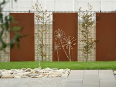 idée grille jardin corten chemin plante déco jardin pierre