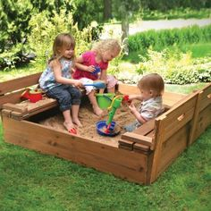 Two Bench Wood Sandbox. Brilliant design and possible DIY!