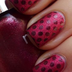 Nails Inc Hays Mews, which is a lovely red suede, stamped with OPI Tease-y Does It and Bundle Monster plate BM19 | From The Nail Buff