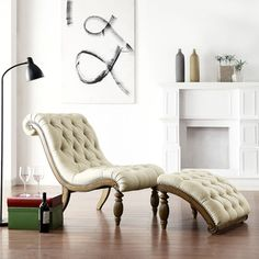 I love this chair! I NEED this chair! | TRIBECCA HOME Bellagio Beige Linen Button Tufted Curved Chaise Lounge with Ottoman