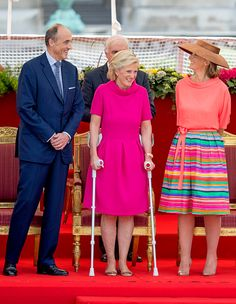 (L-R) Prince Lorenz of Belgium, wife Princess Astrid of Belgium and sister in law Princess Claire of Belgium attend the military parade on the occasion of the Belgian National Day in the front of the Royal Palace on July 21, 2017 in Brussels, Belgium.