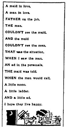 "A love poem in a classified ad, published in the San Jose Mercury News newspaper (San Jose, California), 4 September 1915, page 10. Read more on the GenealogyBank blog: ""Old Classified & Personal Ads Reveal Our Ancestors' Love Lives."" http://blog.genealogybank.com/old-classified-personal-ads-reveal-our-ancestors-love-lives-2.html"