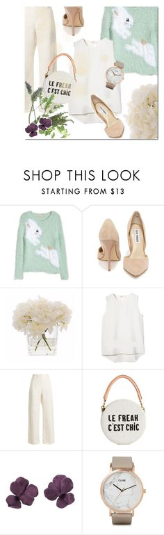 """""""SPIRING IS ALREADY IN MY HEART"""" by pinkdream235 ❤ liked on Polyvore featuring H&M, Steve Madden, Kelly Hoppen, The Row, Clare V., CLUSE, Spring, white and pastel"""