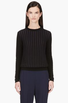 Marni Black And Navy Striped Knit Sweater