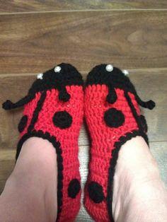 Ravelry: Ladies Ladybug Slippers pattern by Jo-Anne Wilkes-Baker
