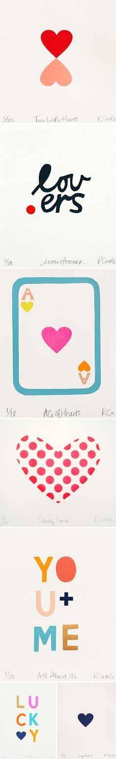 screenprints by rachel castle (happy valentine's day!) <3