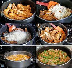 Gente, como pode uma comida tão simples ser tão espetacular! Sabe quando o arroz fica bem moreninho e pega todo o sabor da carne? Delícia demais!!!A quantidade indicada aqui é para 4 porções (grand…