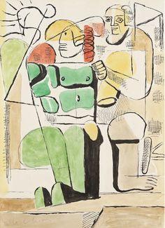 """By Le Corbusier (1887-1965), ca 1940, """"Divinité marine"""", watercolor, India ink. (Bauhaus)"""
