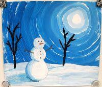 snowmen at night art Winter Art Projects, School Art Projects, 6th Grade Art, Grade 2, Value In Art, Atelier D Art, Art Lessons Elementary, Elements Of Art, Art Lesson Plans