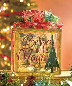 LED Lighted Holiday Christmas Glass Block Believe In The Magic Table Mantel New Christmas Holidays, Christmas Ornaments, Christmas Stuff, Christmas Ideas, Christmas Tree, Christmas Glass Blocks, Magic Table, Holiday Crafts, Holiday Decor