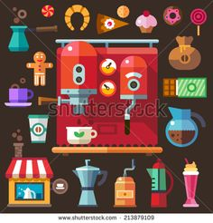 Coffee and sweets. Cafes. Bakery. Vector flat icon set and illustration.