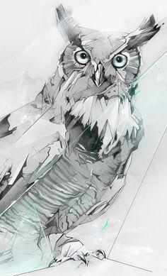 Superbes illustrations d'un hibou grand-duc par Alexis Marcou