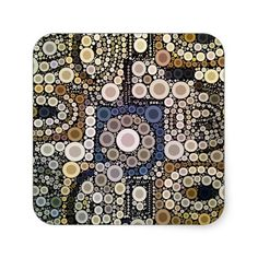 Earth Tones Concentric Circles Mosaic Pattern Sticker