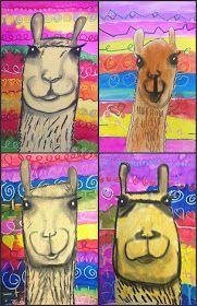 MaryMaking: Llamas with Peruvian Textiles, value, pattern, folk art Art Lessons For Kids, Art Lessons Elementary, Third Grade Art, Grade 3 Art, Llama Arts, Llama Llama, South American Art, Animal Art Projects, Ecole Art