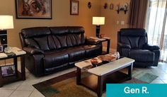 Gen R. decorates for Dad with oversized leather recliners perfect for any living room.