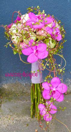 cascade bridal bouquet with vanda orchids