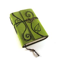 Leather journal Green Notebook Swirly Plant by Kreativlink on Etsy
