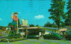 I believe this is now Paul Bunyan on Northwest Blvd. Paul Bunyan, Coeur D'alene, Post Card, Idaho, North West, Golf Courses, Live, Vintage, Vintage Comics