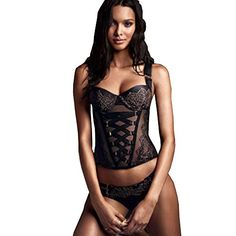 b8d8889db3 Victoria s Secret Womens FASHION SHOW CrissCross Corset Thong Set 34 C    Medium at Amazon Women s Clothing store