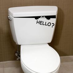 This Hello! bathroom can give you ideas for decorating. Stickers Wc, Wall Decor Stickers, Wall Decal, Rustic Theme, Nautical Theme, Sticker Toilette, Polka Dot Room, Polka Dots, Ambiance Sticker