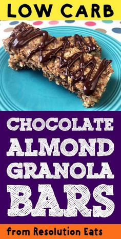 These low carb Keto almond chocolate granola bars are just the tops. They are lightly toasted granola bars with only net carbs each. They are also Paleo, THM-S and Sugar Free compliant. Chocolate Granola, Low Carb Chocolate, Almond Chocolate, Keto Granola, Granola Bars, Low Carb Granola Bar Recipe, Low Carb Protein Bars, Low Carb Keto, Sin Gluten