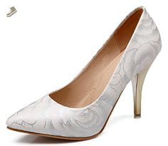 Sfnld Women's Retro Pointed Toe Low Cut Flower Printed High Stiletto Heel Slip On Pumps Shoes Silver 9.5 B(M) US - Sfnld pumps for women (*Amazon Partner-Link)