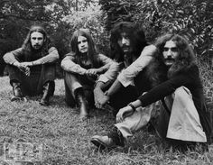 Bill Ward, Ozzy Osbourne, Tony Iommi, and Geezer Butler of Black Sabbath sit in Central Park on Aug. 15, 1971.   Photo: © Bob Gruen
