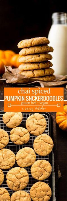 chai spiced pumpkin snickerdoodles gluen and vegan #healthydesserts #easydesserts #pumpkinrecipes