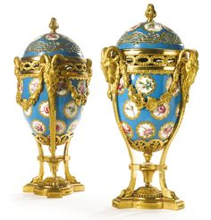Louis XVI ormolu-mounted Sevres porcelain vases oeufs circa 1770 | Sotheby's
