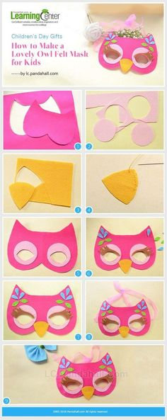 Children's Day Gifts-How to Make a Lovely Owl Felt Mask for Kids from LC. - mask making Diy For Kids, Crafts For Kids, Arts And Crafts, Owls For Kids, Children's Day Gift, Craft Projects, Sewing Projects, Sewing Crafts, Owl Mask