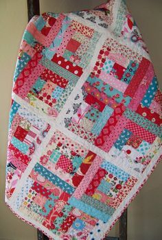 Modern Log Cabin Quilt  Aqua Pink & Red  by SouthernBelleDesigns