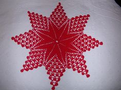 Red crochet lace Christmas star Crochet doily star Lace table topper Christmas holiday New Year Handmade tablecloth Home decor Filet Crochet, Crochet Motif, Hand Crochet, Crochet Lace, Crochet Patterns, Lace Doilies, Crochet Doilies, Christmas Table Cloth, Crochet Stars