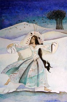 watercolour painting of woman dancing with a white bear on a snowy landscape, by Jackie Morris