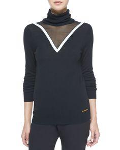 Carsyn Mesh-Trim Turtleneck Sweater, Black, Size: LARGE - Rachel Zoe